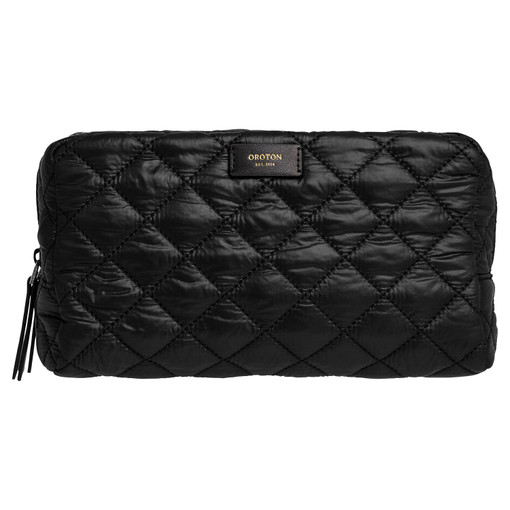 Oroton Cloud Large Toiletry Bag in Black and Quilted Nylon for female