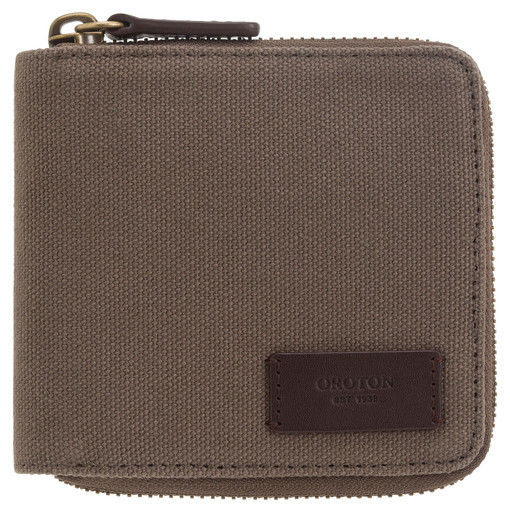 Oroton Kit 8 Credit Card Zip Wallet in Khaki and Coated Canvas/ Smooth Leather for male