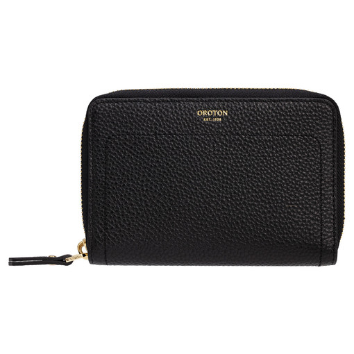 Oroton Lucy Small Book Wallet in Black and Pebble Leather for female