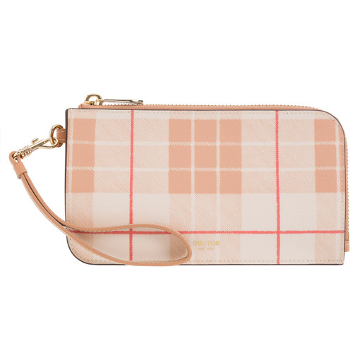 Oroton Harriet Print Phone Wristlet Wallet in Caramel and Print Saffiano PVC/Vachetta Leather Trims for female