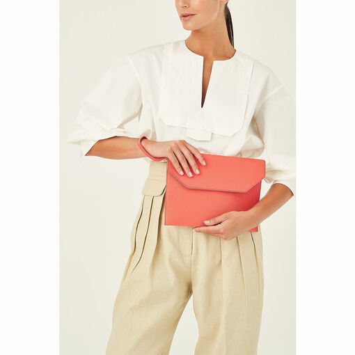 Oroton Avalon Large Envelope Clutch in Apricot and Pebble Leather for female