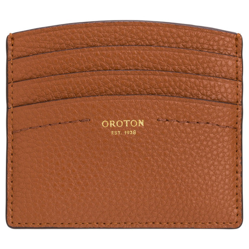Oroton Atlas Credit Card Sleeve in Cognac and Pebble Leather for female