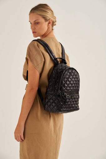 Oroton Cloud Medium Backpack in Black and Quilted Nylon for female