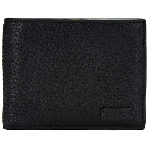 Oroton Preston 12 Credit Card Wallet in Black and Pebble Leather for male