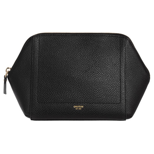 Oroton Lucy Large Beauty Case in Black and Pebble Leather for female