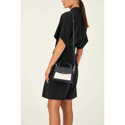 Oroton Atlas Small Satchel in Midnight Blue and Pebble Leather Fused With Saffiano Leather for female