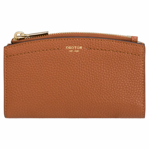 Oroton Atlas 10 Credit Card Zip Wallet in Cognac and Pebble Leather for female