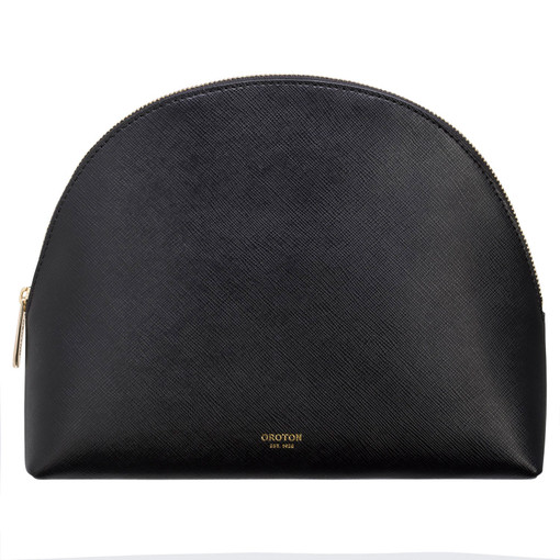 Oroton Inez Large Beauty Case in Black and Shiny Soft Saffiano for female