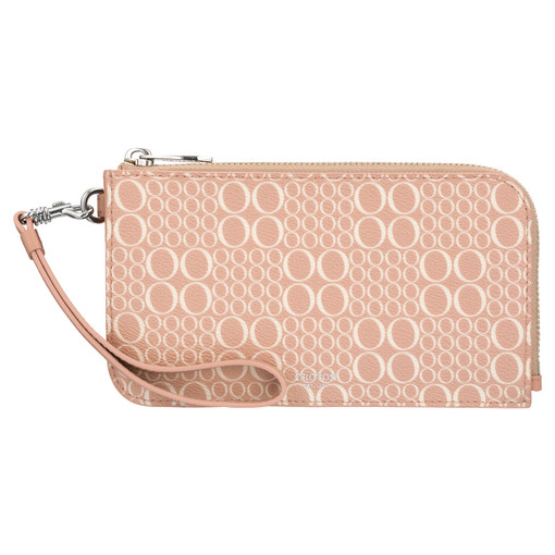 Oroton Harriet Signature Phone Wristlet Wallet in Biscuit and Print Saffiano Texture PVC for female
