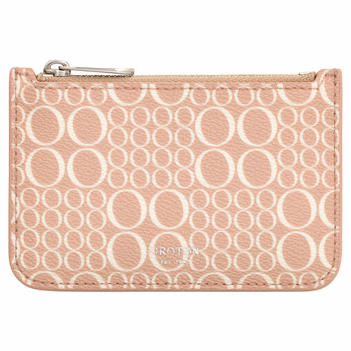 Oroton Harriet Signature Credit Card Holder in Biscuit and Print Saffiano PVC for female