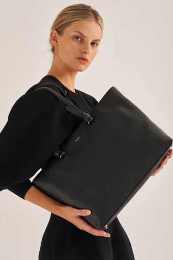 Oroton Atlas Shopper Tote in Black and Pebble Leather for female