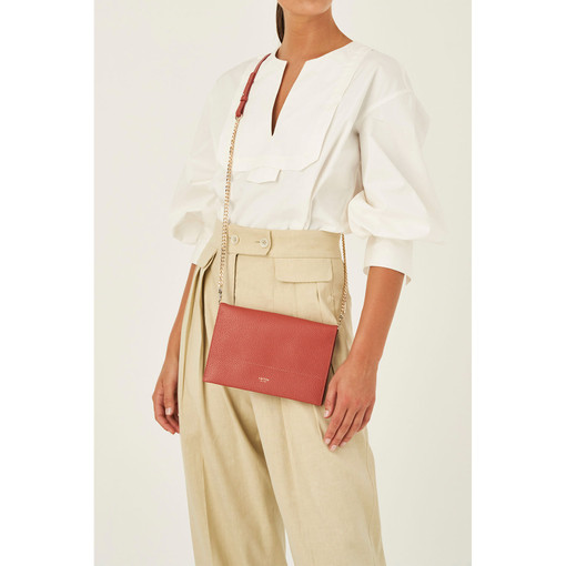 Oroton Avalon Fold Over Chain Crossbody in Burnt Sienna and Pebble Leather for female