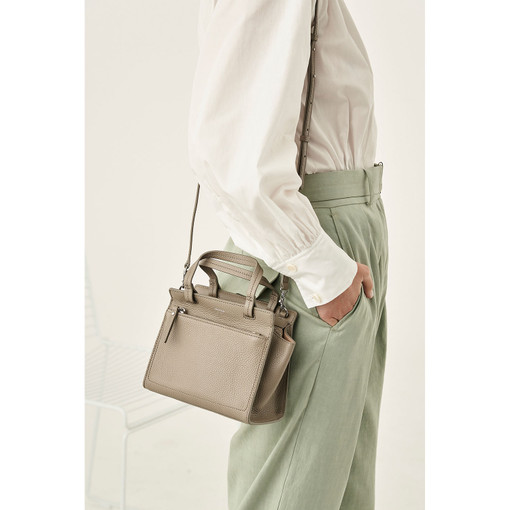 Oroton Lucy Mini Tote Crossbody in Stone and Pebble Leather for female