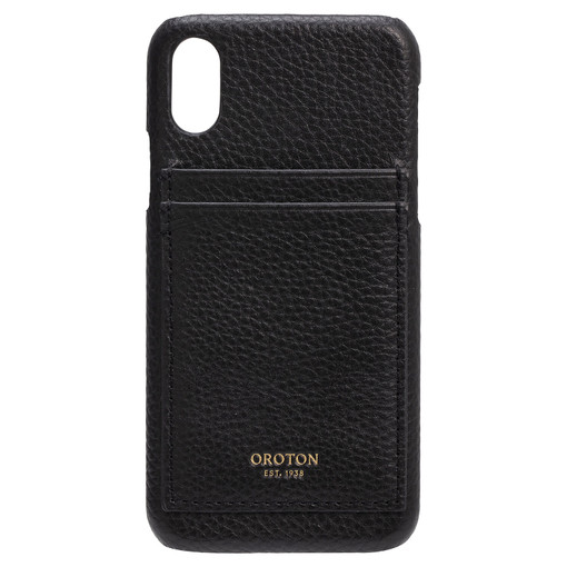 Oroton Lucy IPhone X 2 Credit Card Cover in Black and Pebble Leather for female