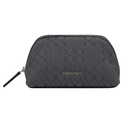 Oroton Signet Small Beauty Case in Charcoal and Signet Jacquard Fabric/Vachetta for female
