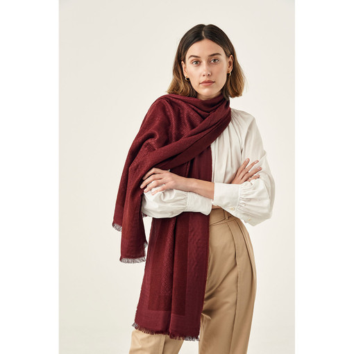 Oroton Signet Wrap Scarf in Dark Juniper and 40% Acrylic, 33% Viscose, 20% Nylon And 7 % Wool for female
