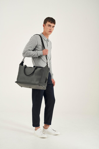 Oroton Harry Signet Weekender in Charcoal and Print Saffiano Texture PVC/ Smooth Leather Trims for male