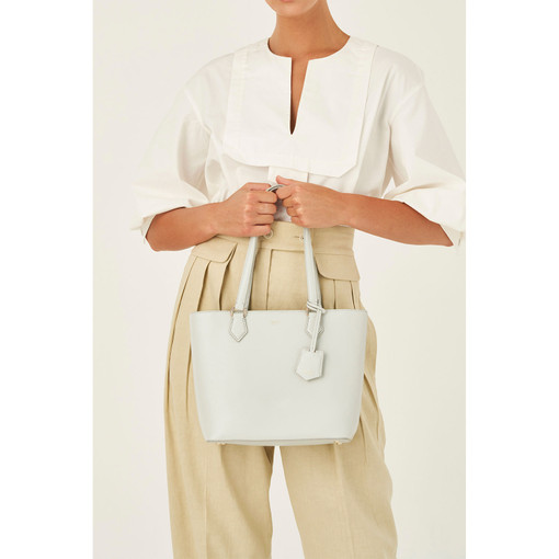 Oroton Inez Small Shopper Tote in Cloud Grey and Shiny Soft Saffiano for female