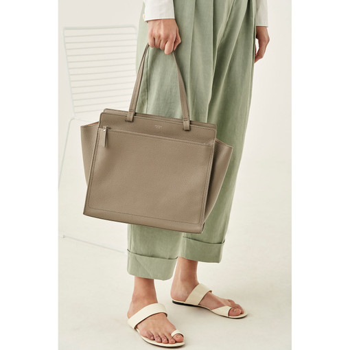 Oroton Lucy Medium Tote in Stone and Pebble Leather for female