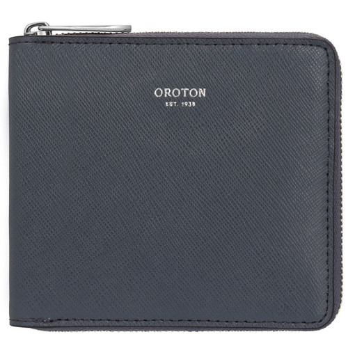 Oroton Inez Small Zip Wallet in Charcoal and Shiny Soft Saffiano for female