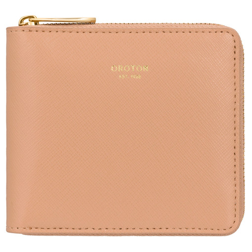 Oroton Inez Small Zip Wallet in Caramel and Shiny Soft Saffiano for female