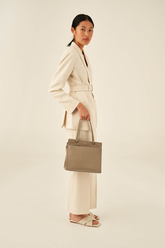 Oroton Lucy Small Tote in Stone and Pebble Leather for female