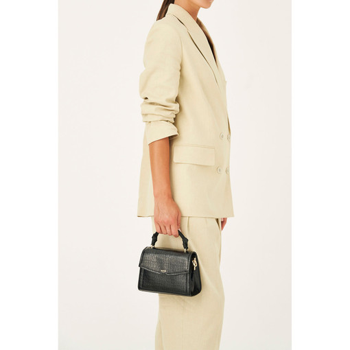 Oroton Atlas Texture Small Satchel in Black and Two Tone Croco for female