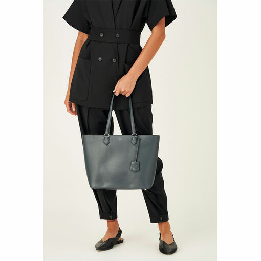 Oroton Inez Shopper Tote in Charcoal and Shiny Soft Saffiano for female