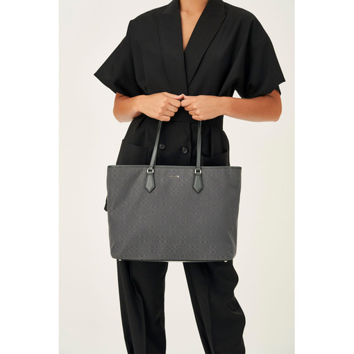 Oroton Signet Tote in Charcoal and Signet Jacquard Fabric/Vachetta for female