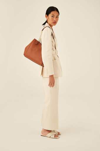Oroton Nina Three Pocket Day Bag in Cognac and Soft Pebble Leather for female