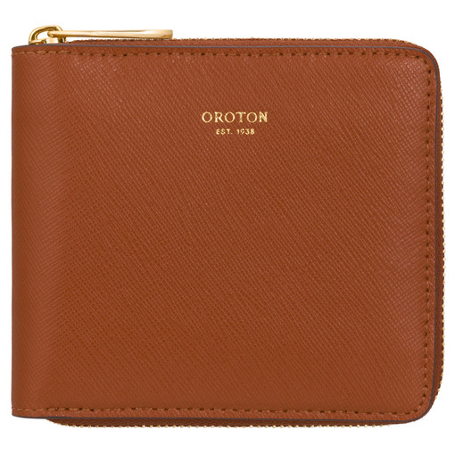 Oroton Inez Small Zip Wallet in Cognac and Shiny Soft Saffiano for female