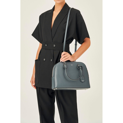 Oroton Inez Griptop in Charcoal and Shiny Soft Saffiano for female