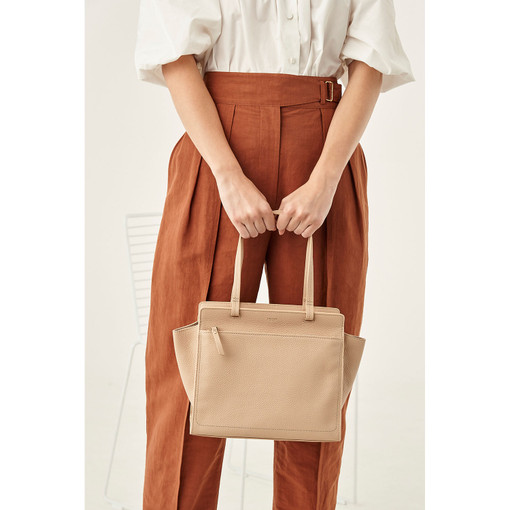 Oroton Lucy Small Tote in Praline and Pebble Leather for female