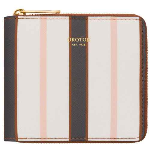 Oroton Inez Print Small Zip Wallet in Black Stripe and Printed Saffiano PVC/Saffiano for female