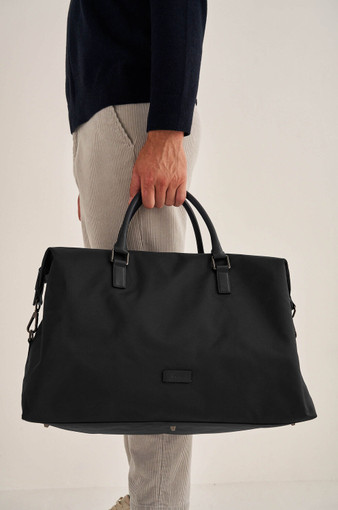 Oroton Otto Nylon Weekender in Black and Nylon Fabric/Pebble Leather for male