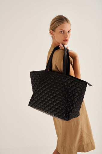 Oroton Cloud Xl Tote in Black and Quilted Nylon for female