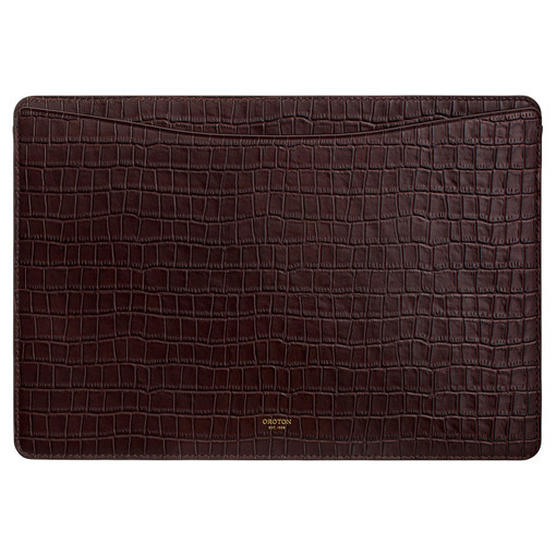 """Oroton Muse Texture 13"""" Laptop Sleeve in Walnut Texture and Croc Effect Leather for female"""