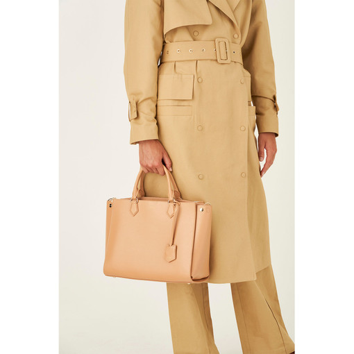 """Oroton Inez 13"""" Zip Around Worker Tote in Caramel and Shiny Soft Saffiano for female"""