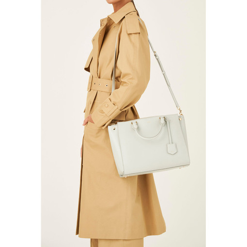 """Oroton Inez 13"""" Zip Around Worker Tote in Cloud Grey and Shiny Soft Saffiano for female"""