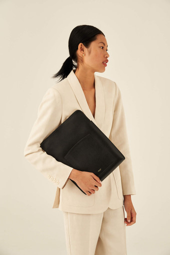 """Oroton Inez 13"""" Laptop Cover in Black and Shiny Soft Saffiano for female"""