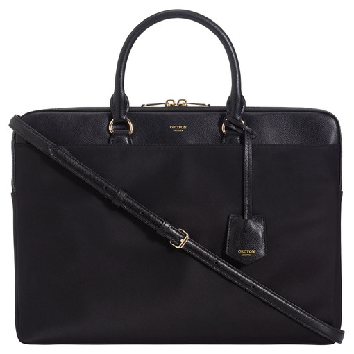 "Oroton Inez Nylon 13"" Slim Laptop Bag in Black and Nylon/ Shiny Soft Saffiano for female"