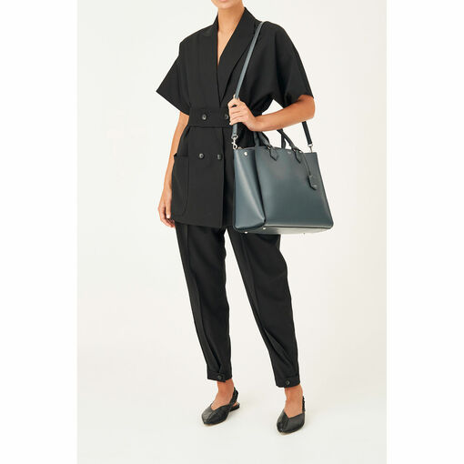 """Oroton Inez 15"""" Zip Around Worker Tote in Charcoal and Shiny Soft Saffiano for female"""