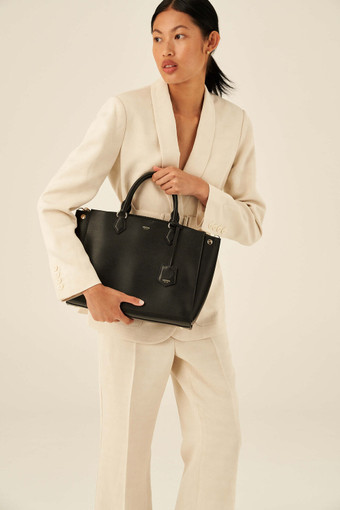 """Oroton Inez 13"""" Zip Around Worker Tote in Black and Shiny Soft Saffiano for female"""