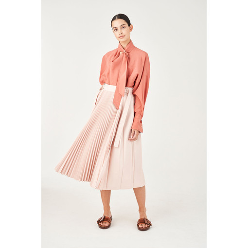 Oroton Tab Detail Contrast Pleat Skirt in Dusty Pink and 100% Polyester for female