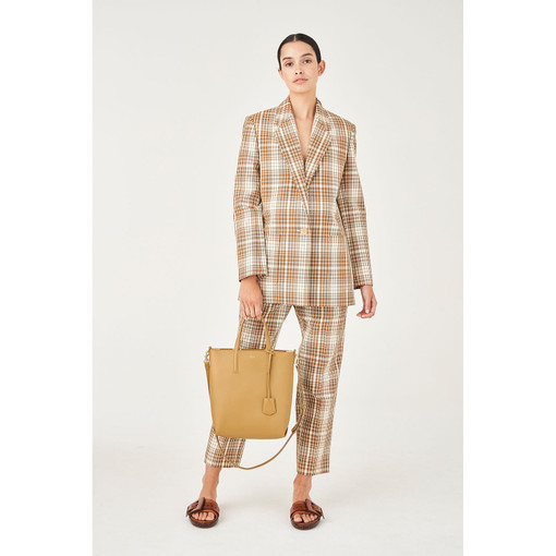 Oroton Cotton Blend Single Breasted Check Blazer in Dark Rye Check and 70% Cotton 30% Polyester for female
