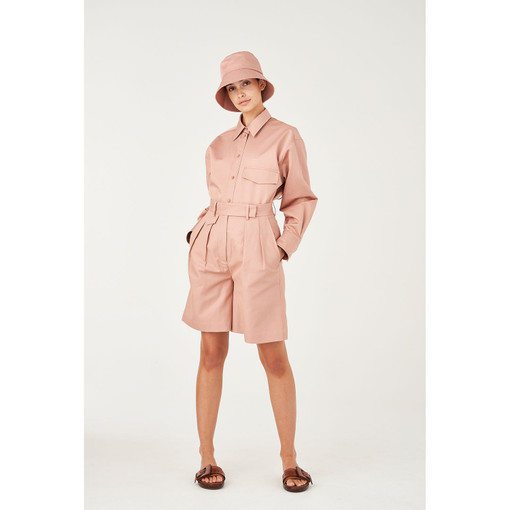 Oroton Cotton-Linen Pleat Front Utility Short in Rosewood and 77% Cotton 23% Linen for female