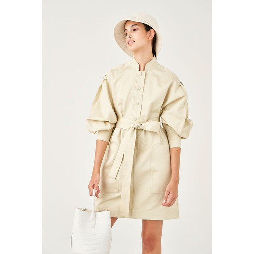 Oroton Cotton-Linen Full Sleeve Tunic Dress in Stone and 70% Cotton 30% Linen for female
