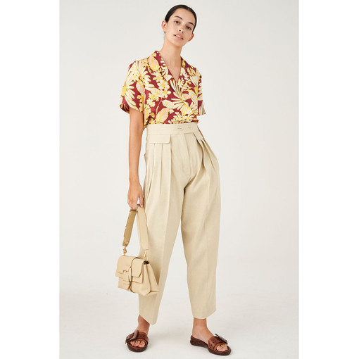 Oroton Cotton-Linen Crop Pant in Stone and 65% Linen 34% Cotton 1% Elastane for female