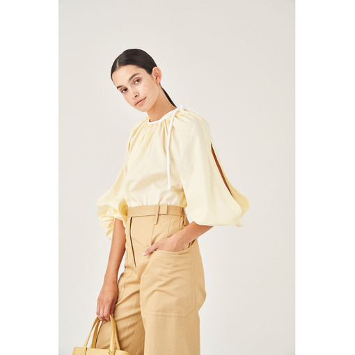 Oroton Gathered Cotton Tie Neck Blouse in Pale Lemon and 100% Cotton for female