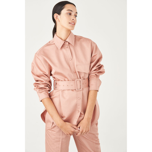 Oroton Sateen Cotton-Linen Belted Overshirt in Rosewood and 70% Cotton 30% Linen for female